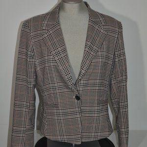 Ellen Tracy Check Patterned Style Slit Cuff Blazer